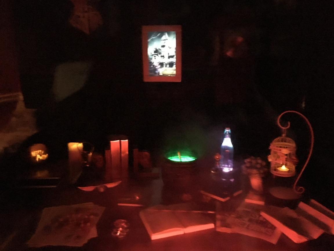 view through the window with colour changing lighting - Hogwarts Halloween