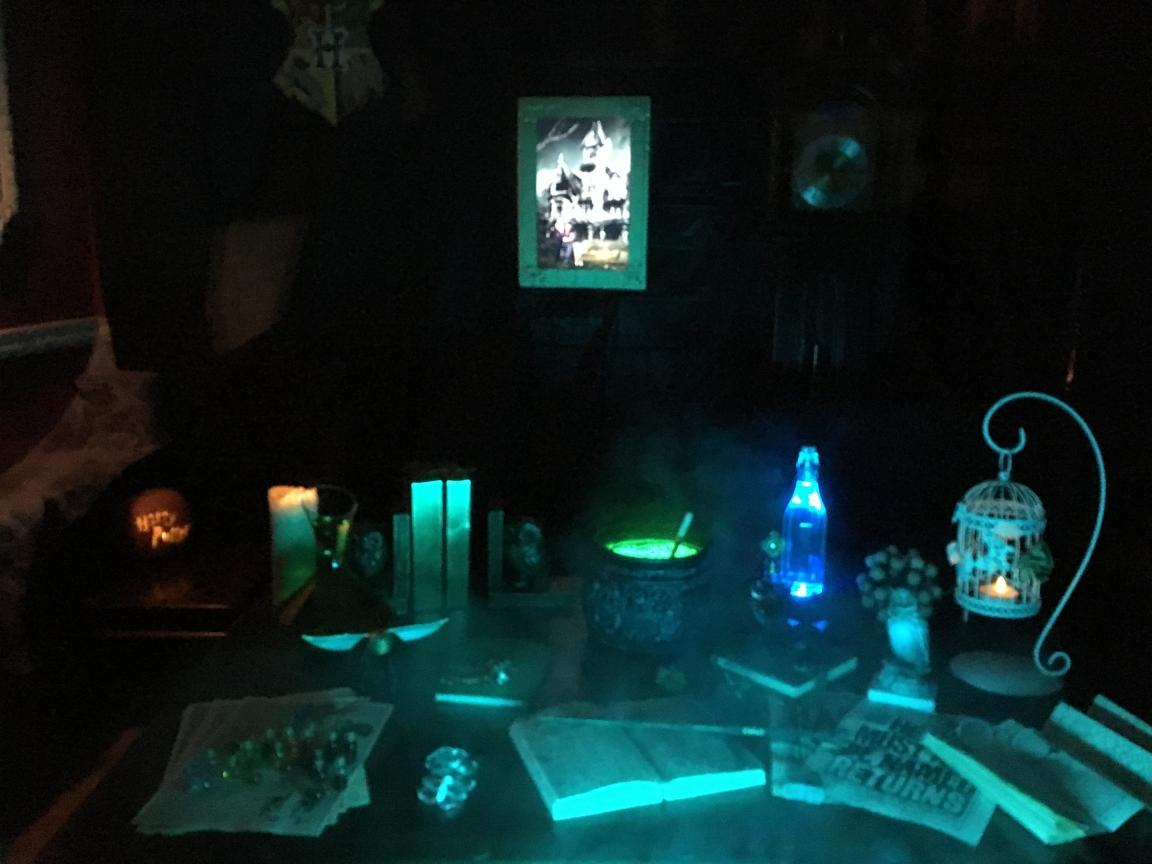 illuminated in a shade of green - Hogwarts Halloween